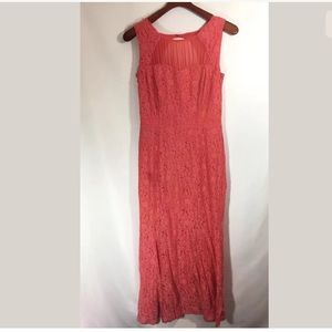 En Focus Coral Lace Mermaid Dress Sz 10P Flaw